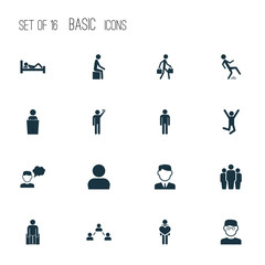 Person Icons Set. Includes Icons Such As Sitting, Jumping Human, Feeling And Other.