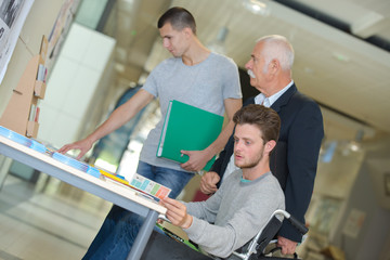 students in business class with trainer
