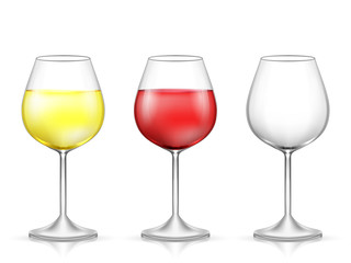 Realistic glass of wine. Vector illustration on white background.