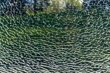 Broken window glass in transport