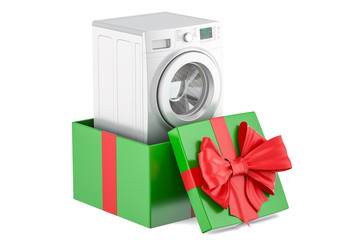 Gift concept, washing machine inside gift box. 3D rendering