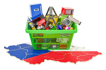 Poster Map of Czech Republic with shopping basket full of home and kitchen appliances, 3D rendering