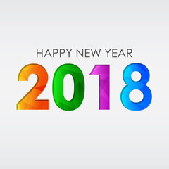 happy new year 2018, greeting card, vector