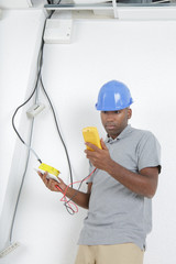 telecommunication technician checking the line