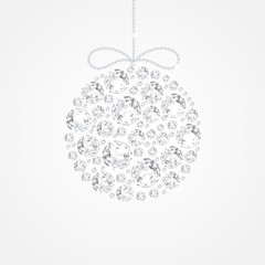 Christmas decoration of sparkling precious gems. White shining diamonds, round shape. For New Year and xmas design