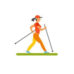 Woman doing nordic walking vector