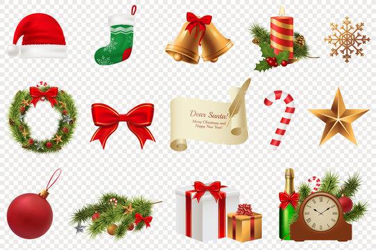 Christmas Symbols big set. Colorful christmas icons isolated on white transparent background. Traditional Xmas attributes. Vector illustration. Eps 10