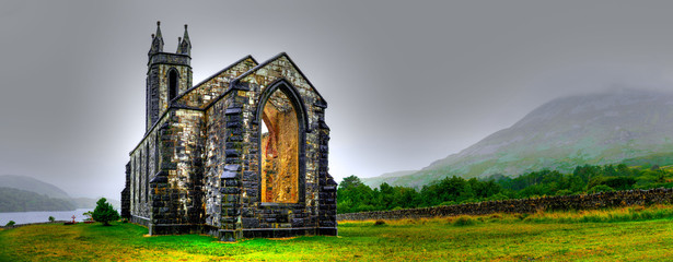 Hdr processing of Dunlewey or Dunlewy church in Co. Donegal. Dún Lúiche Landscape of Ireland. Fototapete