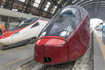 Two high-speed train at the railway station in Milano - Italy