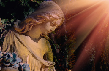 Wall Mural - Ancient statue of wonderful angel in the rays of the sun (architecture, archetype, religion, faith)