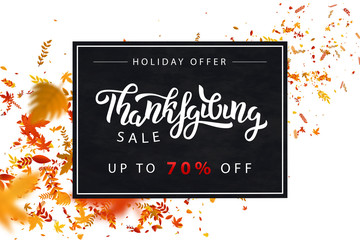 Vector realistic isolated promo banner for Thanksgiving Day for decoration and covering. Concept of sale and holiday offer.