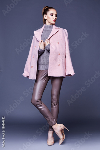 Woman Wear Business Style Clothing For Office Casual Meeting Outwear Cashmere Coat Pink Wool Knitted Sweater
