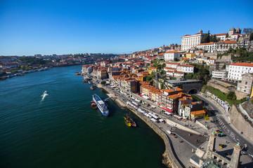 View of Douro river and Ribeiro from Dom Luis I bridge, Porto, Portugal.