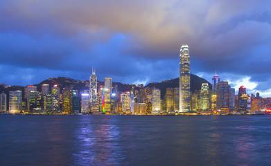 Panoramic view of Hong Kong skyline. China