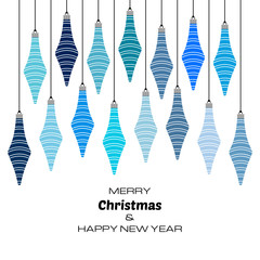 Merry Christmas and Happy New Year background with blue christmas balls. Vector background  for your greeting cards, invitations, festive posters.