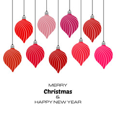 Merry Christmas and Happy New Year background with red christmas balls. Vector background  for your greeting cards, invitations, festive posters.