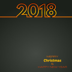 Black Happy New Year 2018 Background. New Year and Xmas Design Element Template. Vector Illustration.