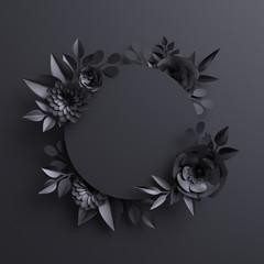 3d render, black paper flowers, botanical background, blank round banner, floral card, gothic frame