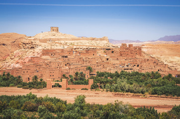 Kasbah Ait Ben Haddou in the desert near Atlas Mountains, Morocco