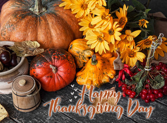 Happy Thanksgiving day concept - traditional holiday food with pumpkins on old wooden.