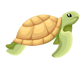 Happy cute turtle walking with smile, Vector cartoon illustration object image vector illustration Web site page and mobile app design