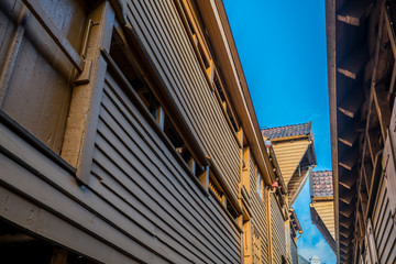 Historic colorful wooden buildings in Bryggen