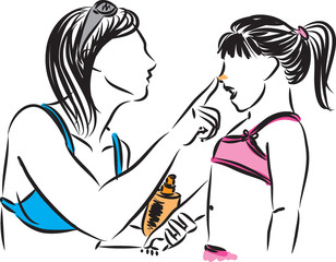 mother applying sunscreen lotion to daughter vector illustration