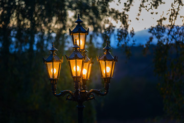 old street lamps at dusk