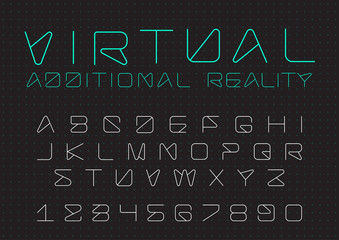 Futuristic vector Font. Digital Virtual Reality Technology