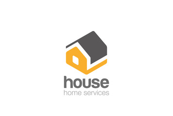 House silhouette isometric flat Logo vector. Home service icon