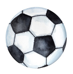 Classic Football / Soccer ball drawing. One single object, closeup, black and white colors. Hand drawn watercolor illustration, isolated on white background.