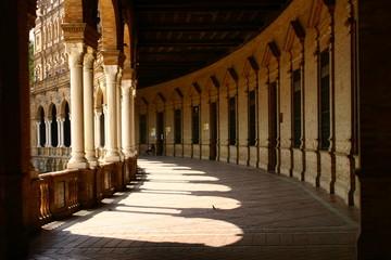 Plaza España de Sevilla, Andalucia. La Plaza es un conjunto arquitectónico enclavado en el Parque de María Luisa y fue proyectado por el arquitecto Aníbal González