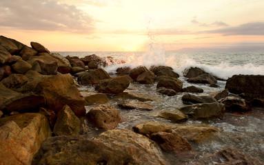 Wall Mural -  Sunset Ocean Wave