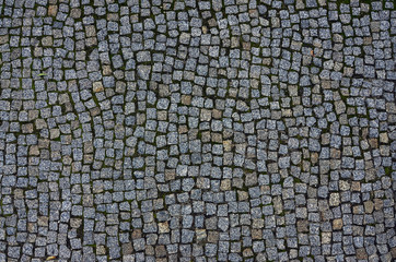 Photo of a platform made of paving stones of a square shape. Top view