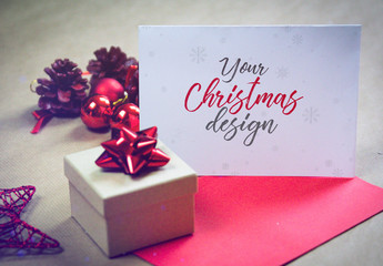 Christmas Card with Gift Mockup