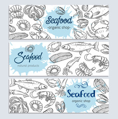banner template hand drawn seafood