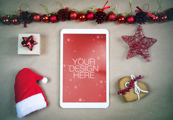 Tablet Mockup with Christmas Decorations