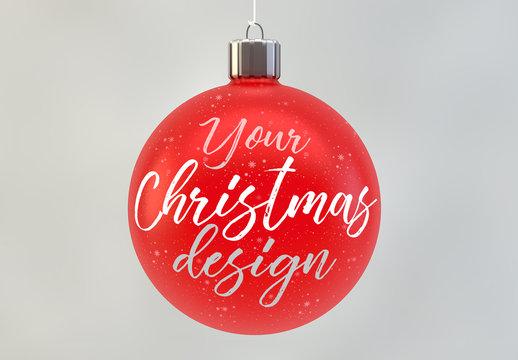 Red Christmas Ball Ornament Mockup
