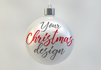 Christmas Ball Ornament Mockup in White