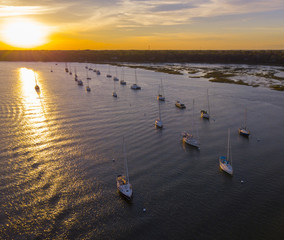 Aerial view of sailboats moored in Beaufort, South Carolina