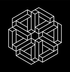 Impossible shapes. Optical Illusion. Vector Illustration isolated on white. Sacred geometry. Black lines on a white background