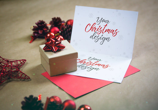Open Christmas Card Mockup
