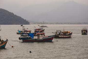 boats in Ubatuba, Brazil