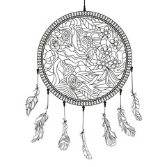 Dreamcatcher. Feathers. Tattoo art, mystic symbol. Abstract feathers. Prints for polygraphy and textiles. American Indians symbol. Design for spiritual relaxation for adults. Zen art. Decorative style
