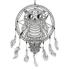 Dreamcatcher. Owl. Tattoo art, mystic symbol. Abstract feathers. Print for polygraphy and textiles. American Indians symbol. Design for spiritual relaxation for adults. Zentangle. Decorative style