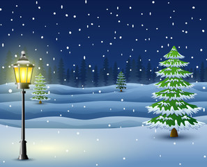 Winter night background with pine trees and street lamp