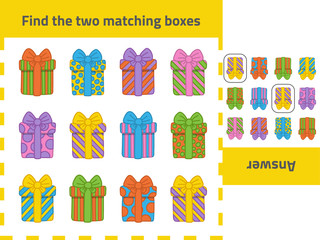 Educational logic game for kids: Find the two matching boxes. Can be used for Christmas holiday or Happy Birthday games.Can be used a set of gift boxes.