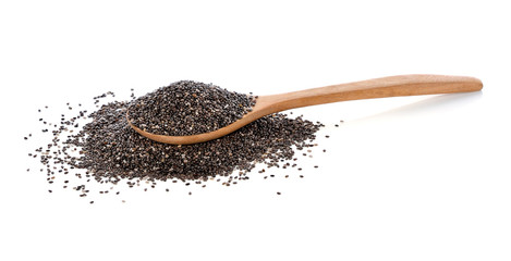 Chia seeds isolated on white background.