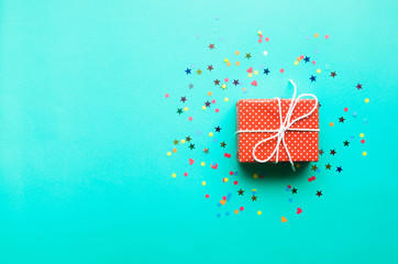 Celebration,party backgrounds concepts ideas with colorful gift box present in dot pattern design with confetti.Flat lay design