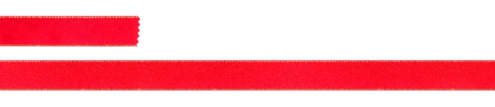 Xmas red ribbons with gold edges for long stripe and short stripe isolated on white background (Clipping Path included) for graphic use, Christmas or Valentine holiday decorative ornament concept